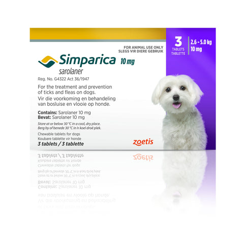 Simparica Tabs (3's) - Tick and Flea Chewable - Dogs. Purple (10mg) - Woofworths Premium Online Pet Supplies