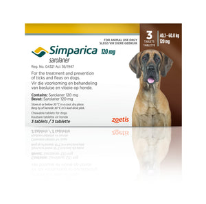 Simparica Tabs (3's) - Tick and Flea Chewable - Dogs. Chocolate (120mg) - Woofworths Premium Online Pet Supplies