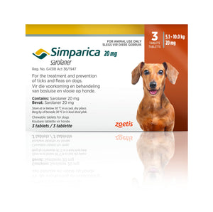 Simparica Tabs (3's) - Tick and Flea Chewable - Dogs. Brown (20mg)