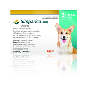 Simparica Tabs (3's) - Tick and Flea Chewable - Dogs. Turquoise (40mg) - Woofworths Premium Online Pet Supplies