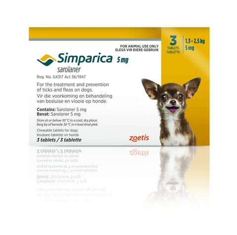 Simparica Tabs (3's) - Tick and Flea Chewable - Dogs. Yellow (5mg) - Woofworths Premium Online Pet Supplies