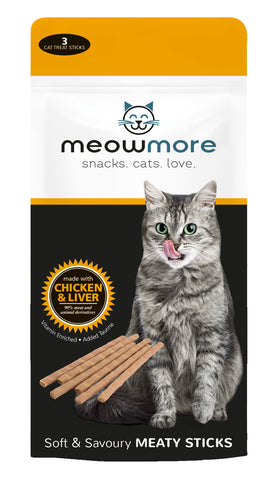 Meow More Meaty Sticks. 15g (3pc per pack) - Chicken and Liver - Woofworths Premium Online Pet Supplies