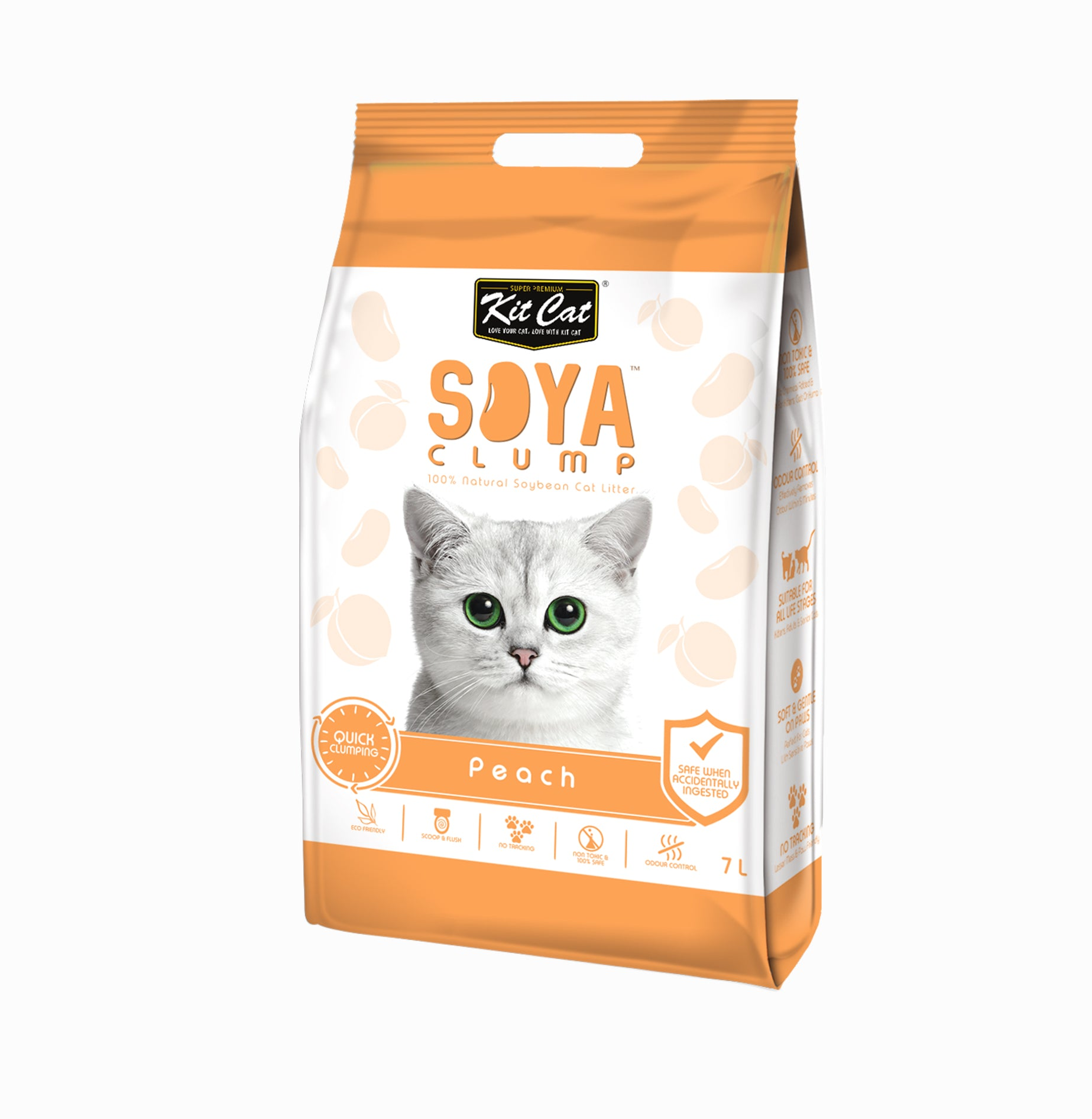 Kit Cat - Soya Clump Cat Litter - 2,8kg- Peach - Woofworths Premium Online Pet Supplies
