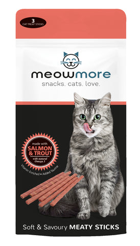 Meow More Meaty Sticks. 15g (3pc per pack) - Salmon and Trout - Woofworths Premium Online Pet Supplies