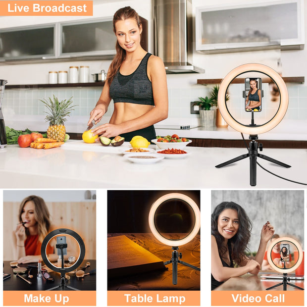 10.2 Inch Ring Light with Stand - Rovtop LED Camera Selfie Light Ring for iPhone Tripod and Phone Holder for Video Photography - Shappyr Supply