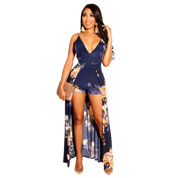 New Sexy Beach Print Playsuit Women Overalls Spaghetti Strap Fashion + Skirts Jumpsuit Backless Bandage Casual Bodysuit - Shappyr Supply
