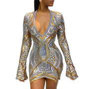 Echoine Women Sequined mini dress sexy long sleeve V-neck elegant bodycon dresses female party embroidery splice see through