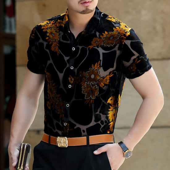 Luxury Floral Embroidery Lace Shirt - Shappyr Supply