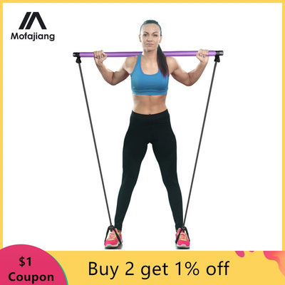 Pilates Bar Lightweight Resistance Band Toning Bar Home Portable Pilates Total Body Slimming Workout Yoga Fitness Stretch Stick