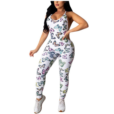 Butterfly Print Jumpsuit Sexy Long Pants Bodycon Jumpsuits for Women 2020 Club Outfits One Piece Rompers Active Wear Jumpsuit