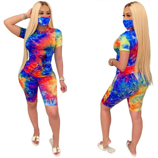 Women Tracksuit Two Piece Set Casual Tie Dye Short Sleeve Corp Tops T-Shirt Bikers Pants Suit Joggers Soprt Matching Set Fitness