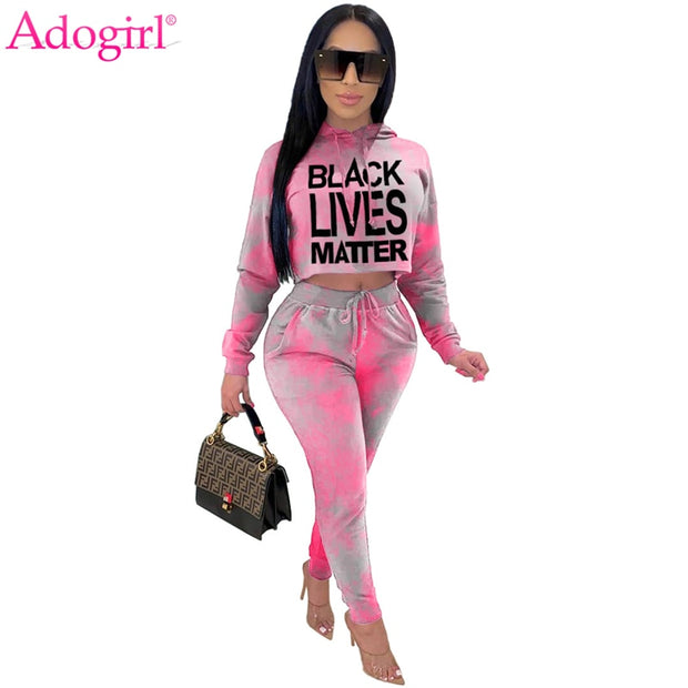 Adogirl Letter Tie Dye Print Two Piece Sets for Women Long Sleeve Hoodies Crop Top Pencil Pants 2020 Autumn New Tracksuit
