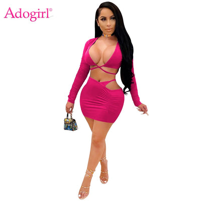 Adogirl Women Solid Sexy Two Piece Set Dress Crisscross Lace Up V Neck Long Sleeve Shirt Crop Top Bodycon Mini Skirt Club Outfit