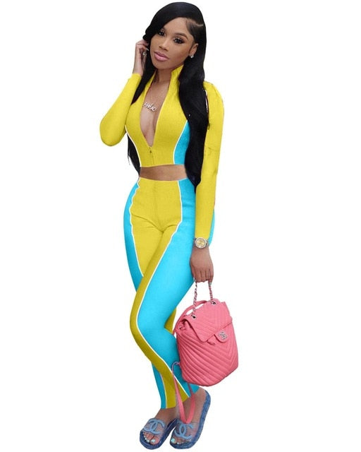 Adogirl Color Patchwork Women Fashion Casual Two Piece Set Zipper Long Sleeve Shirt Crop Top Pencil Pants Jogger Suit Tracksuit