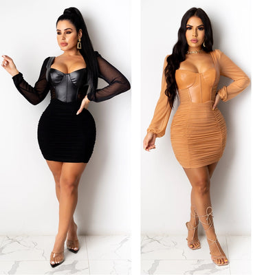 Mesh Pu Patchwork Pleated Mini Dress Square Neck Long Sleeve Autumn Bodycon Dress For Woman Nightclub Party Wear Solid Outfits