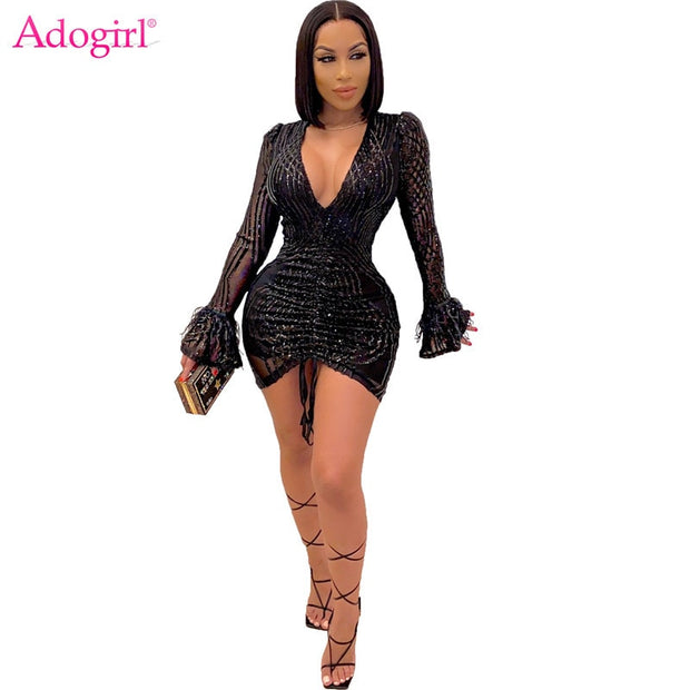 Adogirl Women Sexy Night Club Party Sequins Dress Deep V Neck Feather Flare Sleeve Drawstring Pleated Bodycon Mini Dresses
