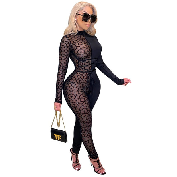 Adogirl Sheer Mesh Patchwork Women Sexy Lace Up Jumpsuit Turtleneck Long Sleeve One Piece Overall Night Club Party Romper