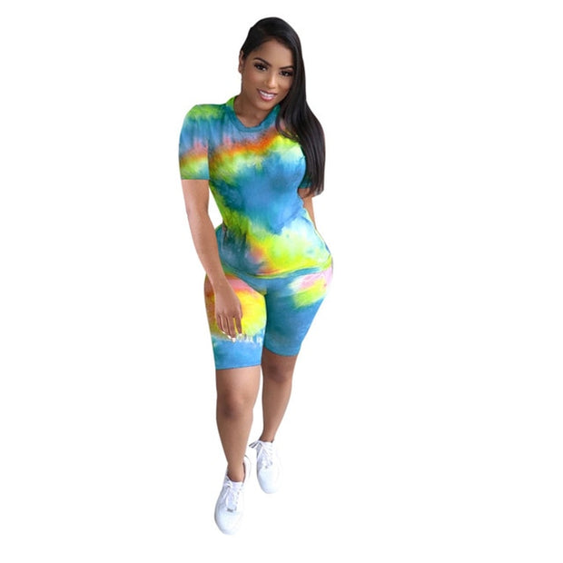 Simenual Workout Casual Fashion Matching Sets Women Tie Dye Short Sleeve Two Piece Outfits 2020 Sporty Top And Biker Shorts Set