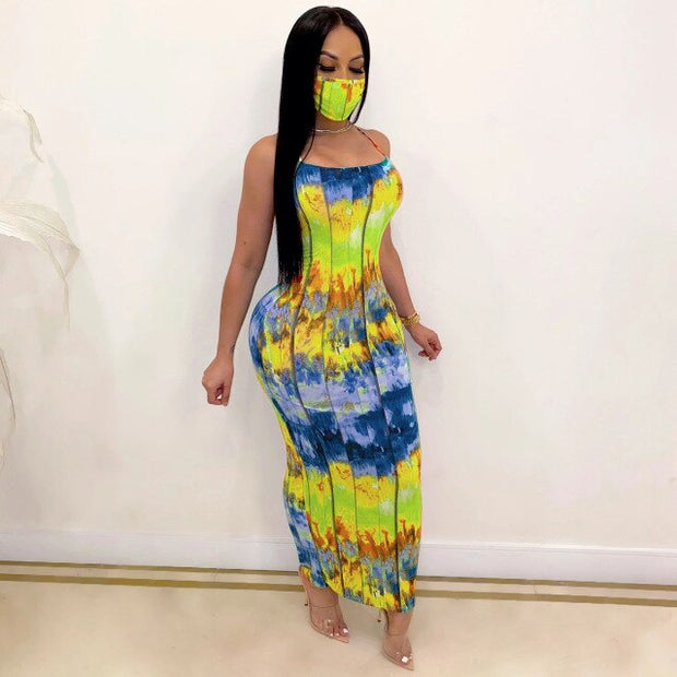 Sexy Backless Long Dress Women Back Bandage Strapless Sundress Tie Dye Fashion Printed Night Party Clubwear Summer Dress 2020