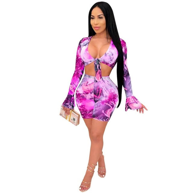 Adogirl Fashion Print Sheer Mesh Two Piece Set Front Tie V Neck Long Flare Sleeve Shirt Crop Top Shorts Night Club Suit Clothing