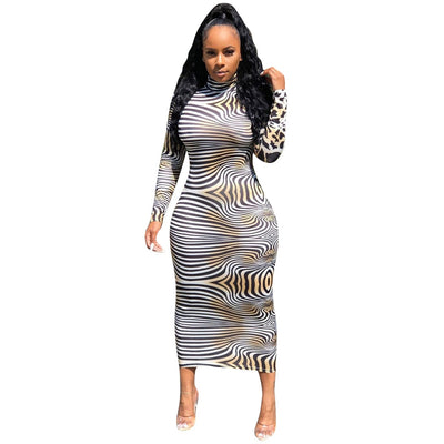 Sexy Leopard Zebra Club Dress Women Clothes Fall Autumn Long Sundress Party Night Long Sleeve Bodycon Dress Fashion Streetwear