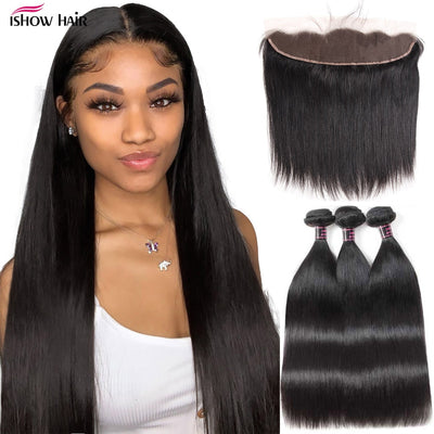 Ishow Hair Straight Bundles with Frontal Transparent Lace Frontal and Bundles Malaysian Human Hair Bundles with Frontal Closure