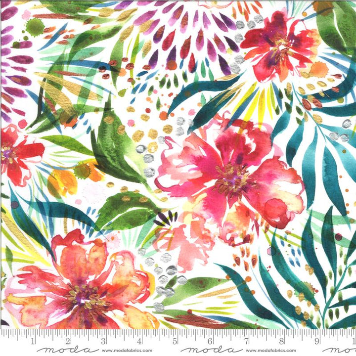 Moody Bloom Jungle White Fabric Moda