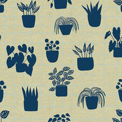 Andover Fabrics Home Collection - House Plants in Cyan Fabric Andover