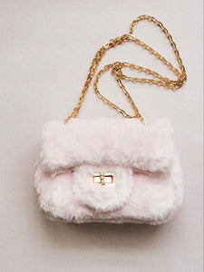 Girl's Pale Pink Furry Purse