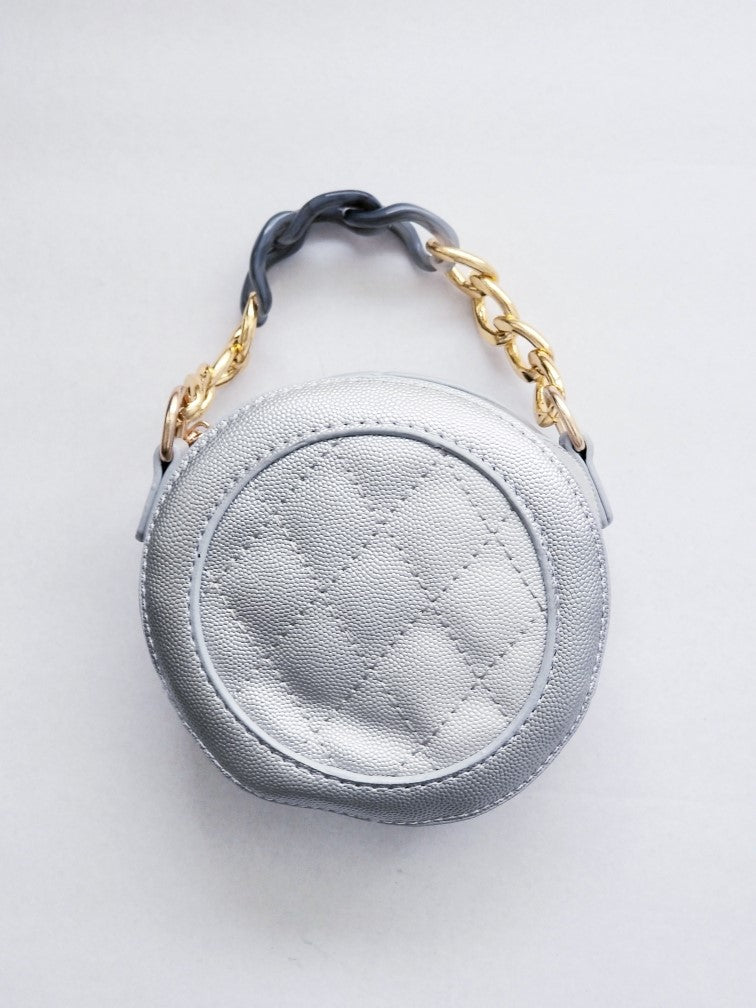 Girl's Silver Quilted Purse