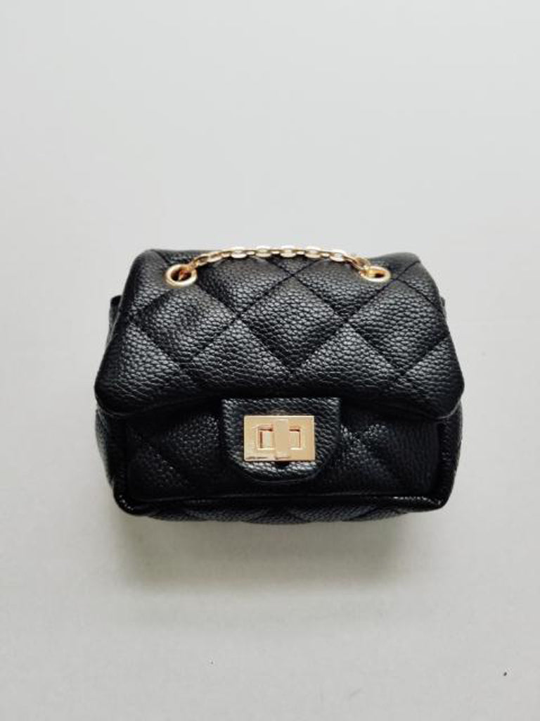Girl's Black Quilted Mini Purse