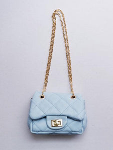 Girl's Quilted Sky Blue Mini Purse