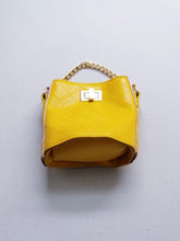 Load image into Gallery viewer, Girl's Yellow Quilted Cross-Body Bucket Bag
