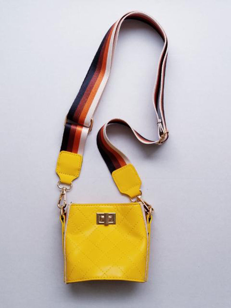 Girl's Yellow Quilted Cross-Body Bucket Bag