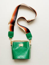 Load image into Gallery viewer, Girl's Green Quilted Cross-Body Bucket Bag
