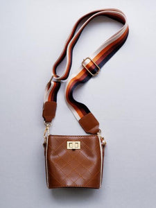 Girl's Brown Quilted Cross-Body Bucket Bag