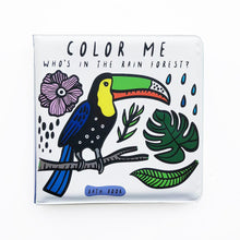 Load image into Gallery viewer, Wee Gallery Color Me Bath Book : Who's In the Rainforest