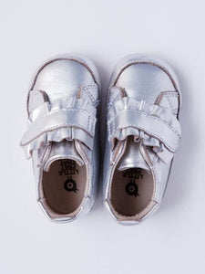 Old Soles Baby Girl's Silver Ruffle Sneakers
