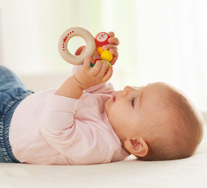 Haba - Clutching Toy Rainbow Caterpillar Beech Wood Rattle & Teether with Plastic Ring