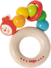 Load image into Gallery viewer, Haba - Clutching Toy Rainbow Caterpillar Beech Wood Rattle & Teether with Plastic Ring