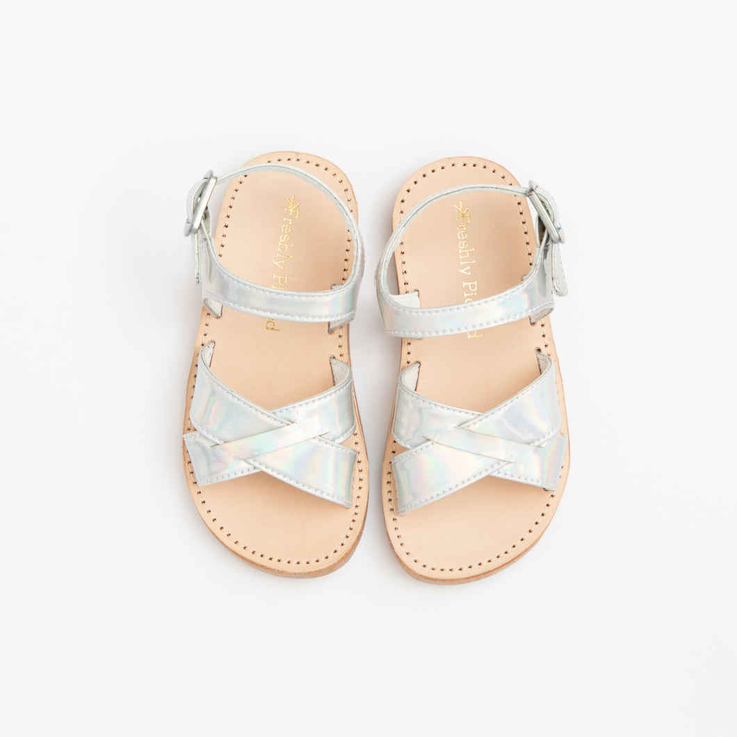 Girl's holographic sandals