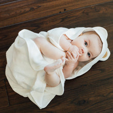 Load image into Gallery viewer, Natemia - White Bamboo Baby Bath Hooded Towel