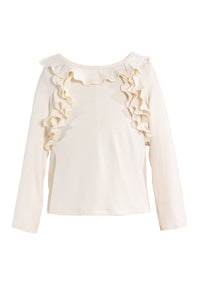 Hannah Banana Girl's Long Sleeves Top with Ruffles