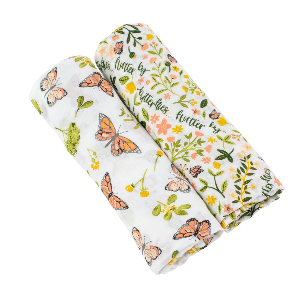 Bebe Au Lait Bamboo Blend Swaddle Set - Butterfly/Flutterby