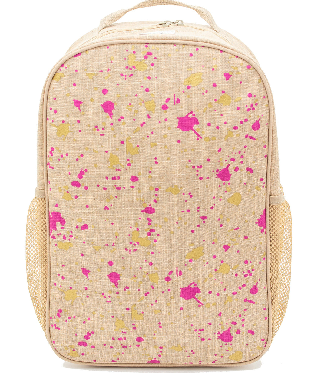 So Young Fuchsia and Gold Splatter Backpack ( 2 sizes )