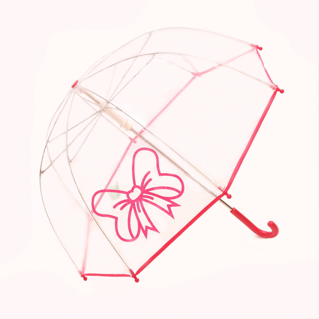 Pluie Pluie Transparent Umbrella with Fuchsia Bow