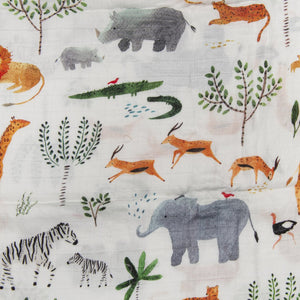 Loulou Lollipop Muslin Swaddle Blanket - Safari Jungle