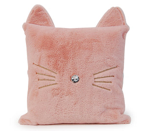 OMG Pink Fluffy Kitty Throw Pillow