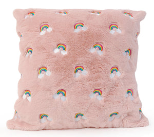 OMG Embroidered Rainbow Pink Throw Pillow