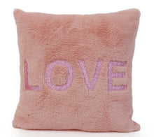 Load image into Gallery viewer, OMG Glitter Love Patched Pink Pillow